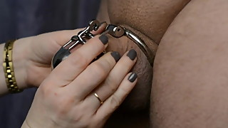 Wife locks her hubby into chastity