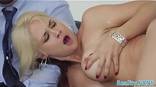 Busty MILF fucked by bbc while hubby watches