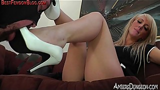 Blonde amazon femdom tease and punish of male slave