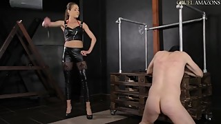 Mistress severe whipping of a cuckold slave until he cries