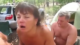 Russian slut wife fucked by a group