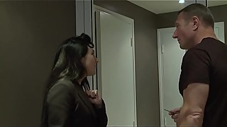 Cuckold, she gets her ass fucked by her neighbor