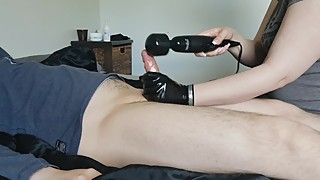 Cuckold milked with magic wand - Verbal SPH, latex glove