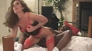 Wife Takes BBC With Her Red Nice Stockings