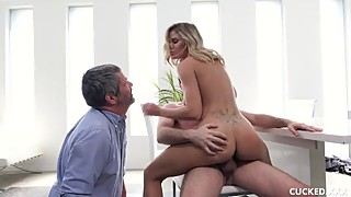 Big Tit Blonde Gets Fucked By A Bigger Cock Than Her Cucked Husband Has