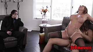Busty cougar Richelle Hard rides cock while hubby watches