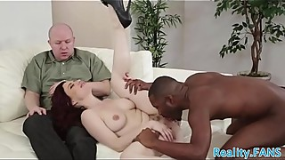 Redhead MILF cuckolds her husband with bbc