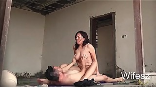 Wifesz, amateur wife fucked outdoor in empty building creampie