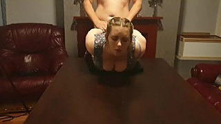 My Cuckold fuck - bounded with leather handcuffs