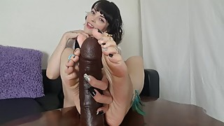 Feet Cuckold Role Play with big black dildo