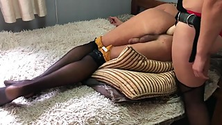 Pegging crossdresser bisexual cuckold bi husband with cum swap and cumkiss