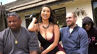 Busty Asian Sharon Lee Fucks Her Cuckold Husband's Pals