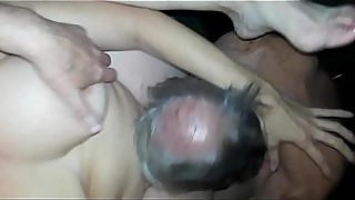 Hotwife is fucked and cums over and over while husband films the old man stranger