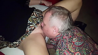 Cuckold eats creampie and cleans Bull friend Brett