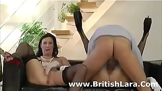 British older guy and two ladies in stockings