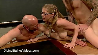 Busty girl cuckolds teacher in classroom