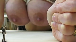 Tiny Cuckold Soldier watches giant busty woman get fucked